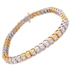 8.98 Carat Diamond Yellow and White Gold Tennis Bracelet