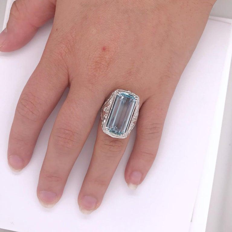 Emerald Cut 8.98 Carat, Handmade Aquamarine and Diamond Ring Set in 14 Karat White Gold For Sale