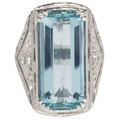 8.98 Carat, Handmade Aquamarine and Diamond Ring Set in 14 Karat White Gold