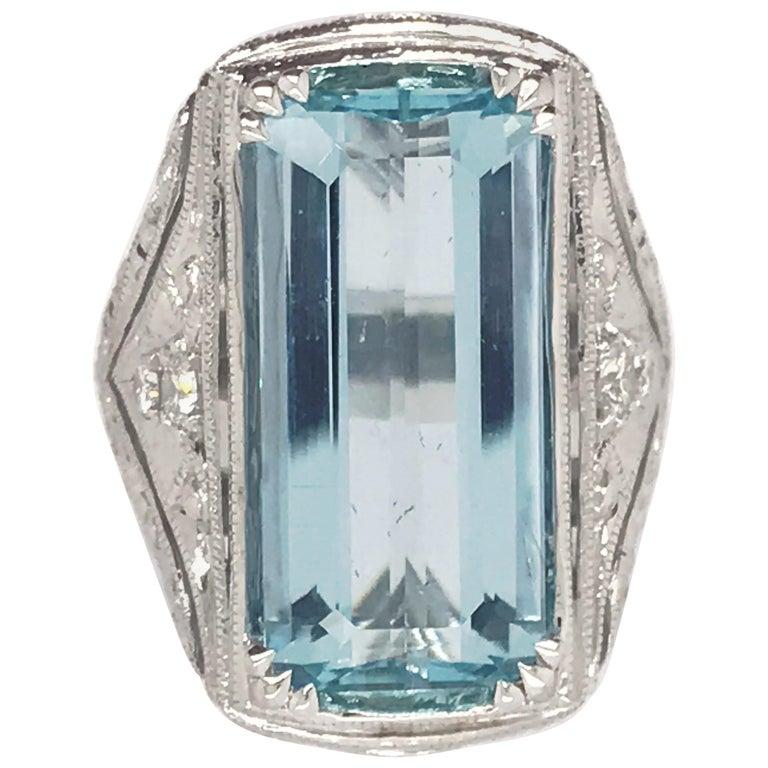 8.98 Carat, Handmade Aquamarine and Diamond Ring Set in 14 Karat White Gold For Sale