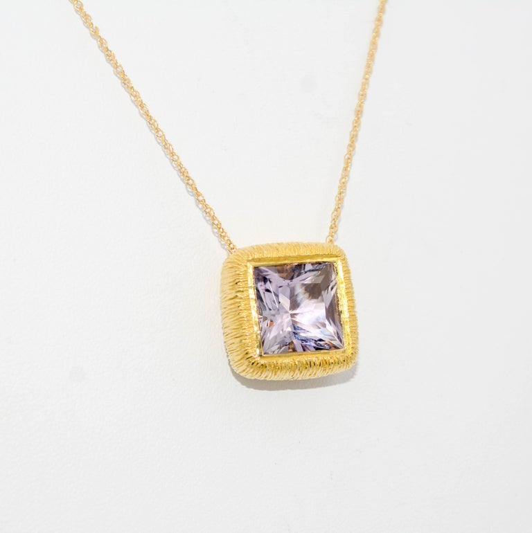 Women's 18K Yellow Gold 8.98 Carat Square Cut Lavender Amethyst Pendant  For Sale