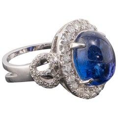 8.98 Carat Tanzanite Cabochon and Diamond 18 Karat Gold Engagement Ring
