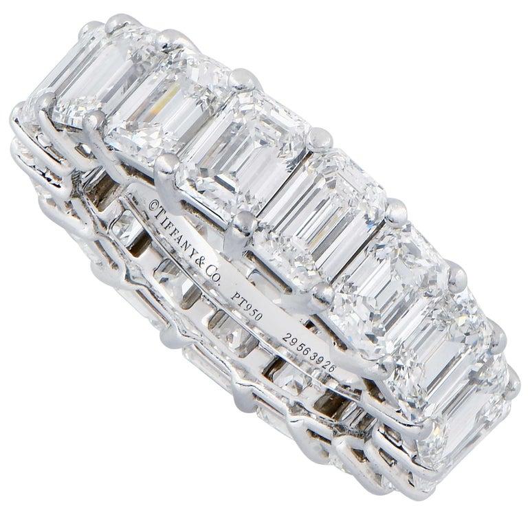 Modern 8.98 Carat Tiffany & Co. Diamond Eternity Band in Platinum For Sale