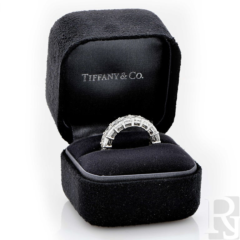 Women's 8.98 Carat Tiffany & Co. Diamond Eternity Band in Platinum For Sale