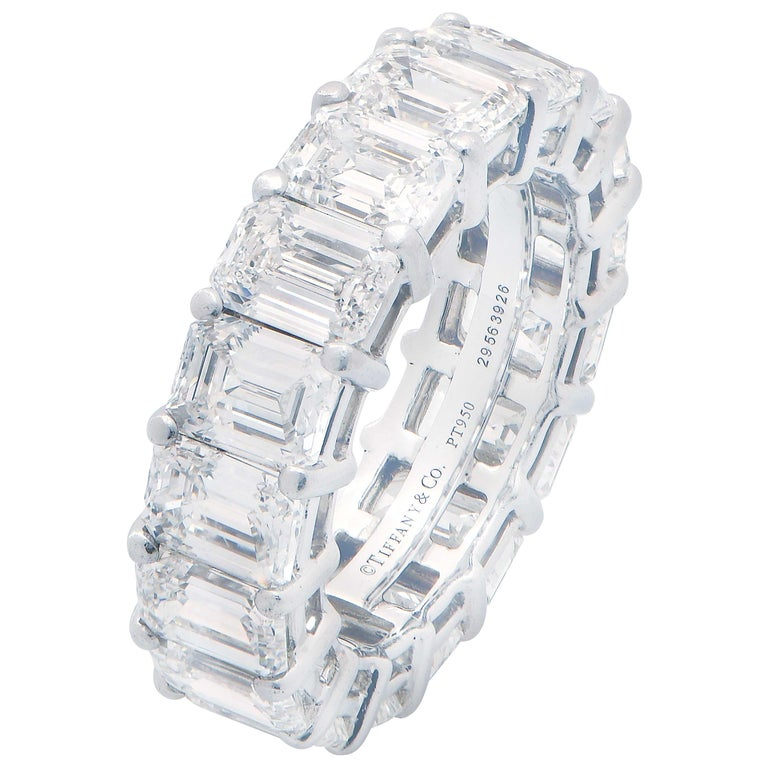 8.98 Carat Tiffany & Co. Diamond Eternity Band in Platinum For Sale