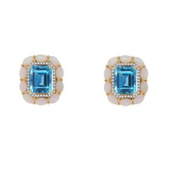 8.99 Carat Blue Topaz, Opal, and Diamond Stud Earrings