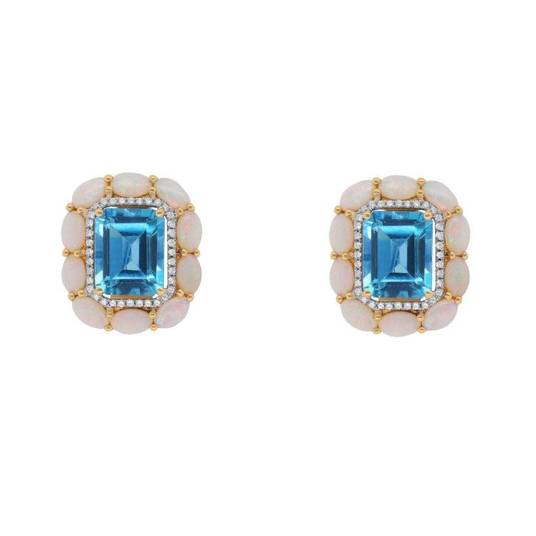 8.99 Carat Blue Topaz, Opal, and Diamond Stud Earrings For Sale