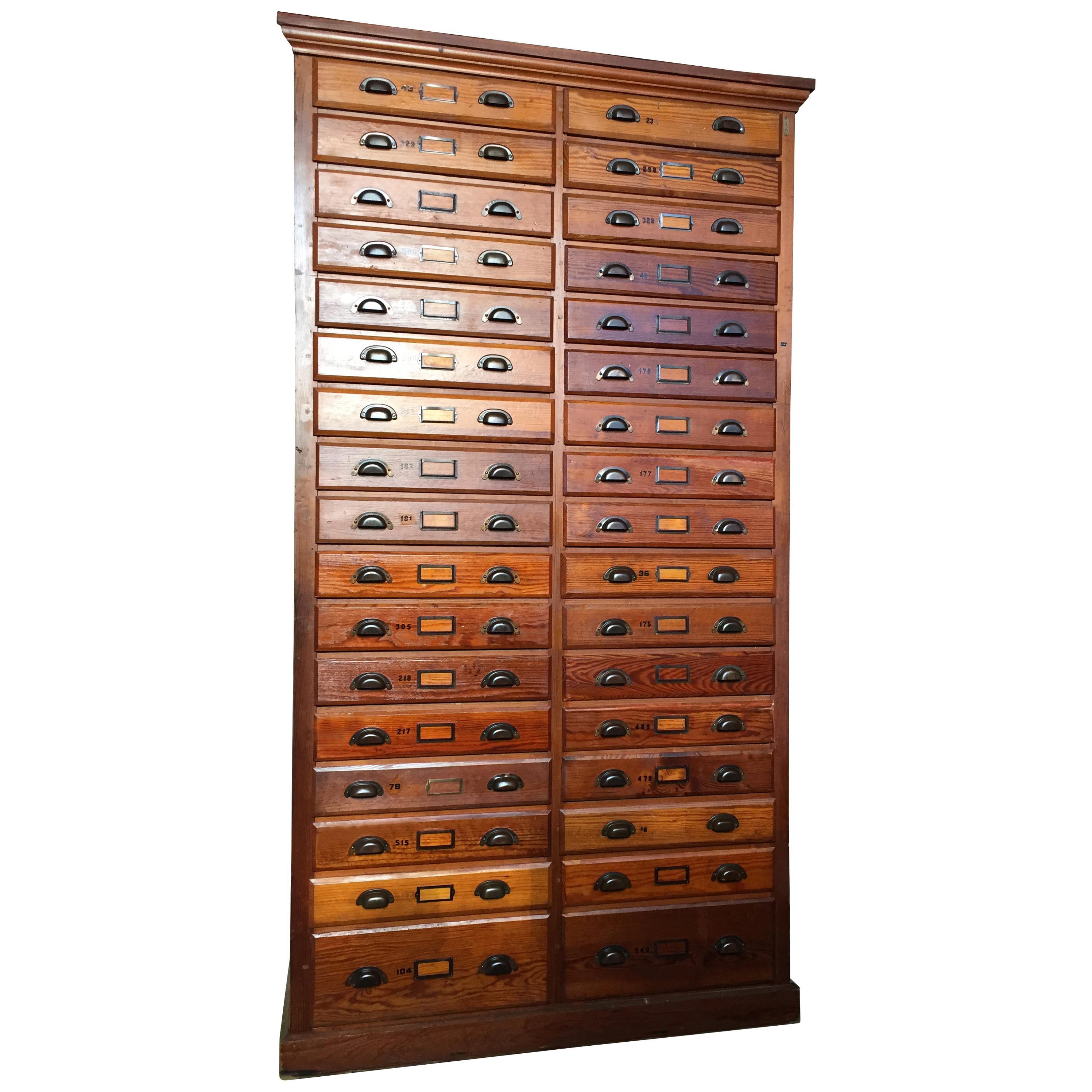 Antique Oak Printer's Cabinet