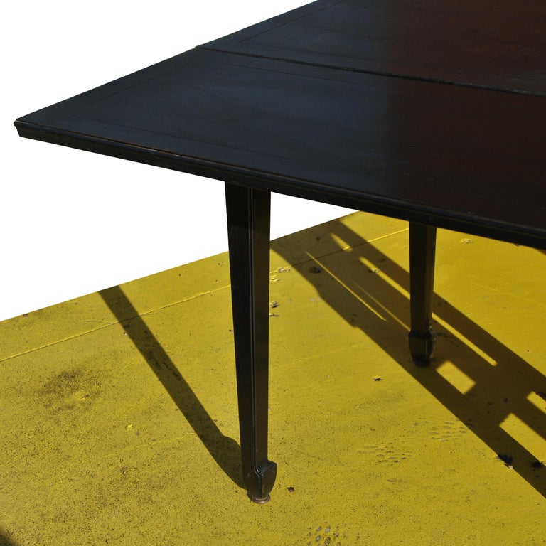 Expandable Vintage Midcentury Baker Michael Taylor Far East Dining Table For Sale 2