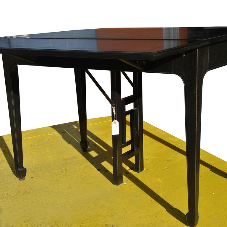 Expandable Vintage Midcentury Baker Michael Taylor Far East Dining Table For Sale 3