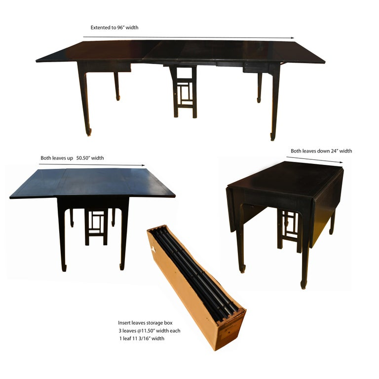 Expandable Vintage Midcentury Baker Michael Taylor Far East Dining Table For Sale 4