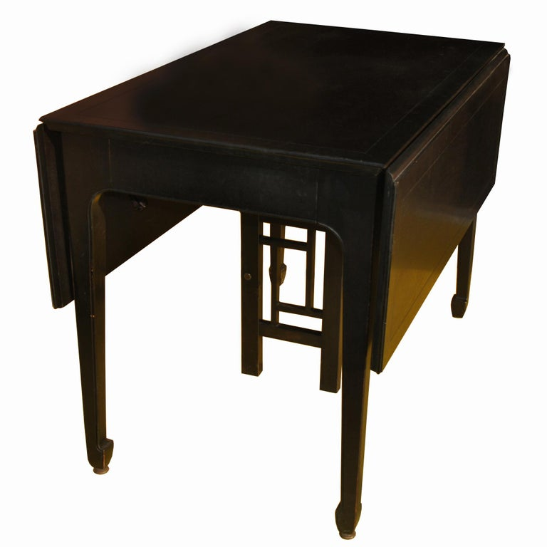 Chinoiserie Expandable Vintage Midcentury Baker Michael Taylor Far East Dining Table For Sale