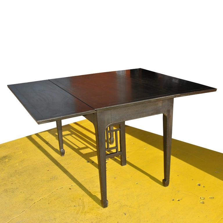 Late 20th Century Expandable Vintage Midcentury Baker Michael Taylor Far East Dining Table For Sale