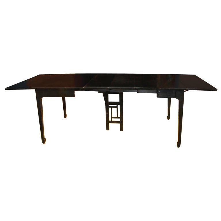 Expandable Vintage Midcentury Baker Michael Taylor Far East Dining Table For Sale