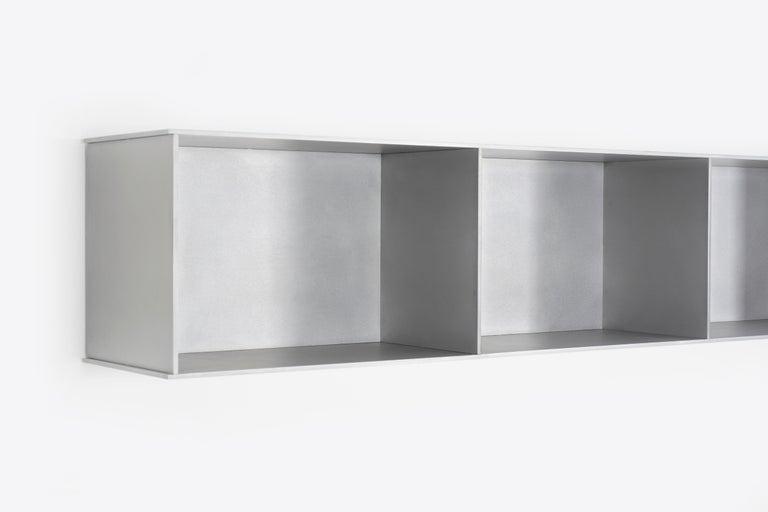 Minimalist 8G Wall-Mounted Shelf in Waxed Aluminum Plate by Jonathan Nesci For Sale