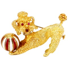 18 Karat Yellow Gold Ruby Enamel Poodle Puppy Dog Brooch