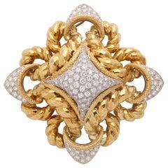 18 Karat Yellow and White Gold and Diamond Pendant Brooch