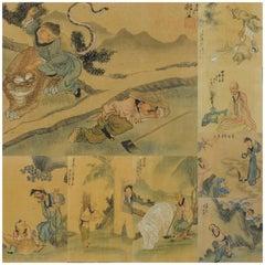 "8 Chinese Aquarel ""24 Filliar Exemplars"" Marked Qian Hui'an China 1833-1911"