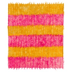 Hot Pink and Yellow Color Shag Pile Rug, 100% Wool, Custom Options Available