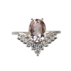 Oval Morganite Diamond White Gold Engagement Ring