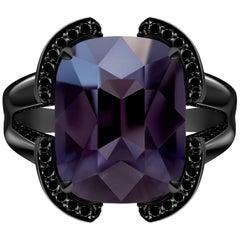 9 Сarat Grey Purple Thunderstorm Spinel Black Diamonds 14 Karat Gold Ring