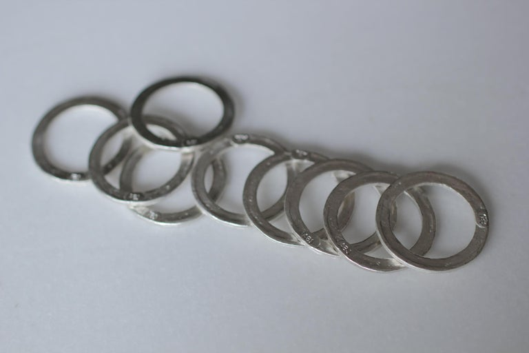 9 Bands in Sterling Silver Wedding Ring Stack Fashion Modern Design For Sale 1