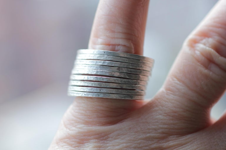 9 Bands in Sterling Silver Wedding Ring Stack Fashion Modern Design For Sale 3