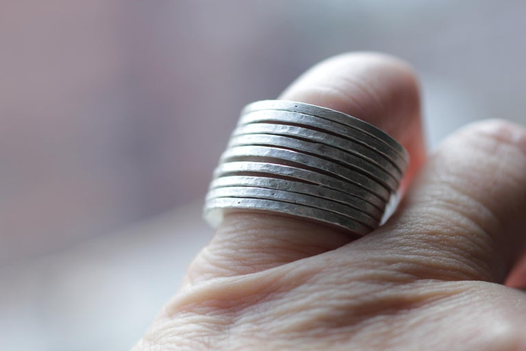 9 Bands in Sterling Silver Wedding Ring Stack Fashion Modern Design For Sale 4
