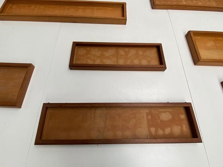 Metal 9 Cabinet of Curiosities University Wall Displays in Oak 1930s the Netherlands For Sale