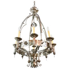9 Candle Gothic Polished Steel Chandelier