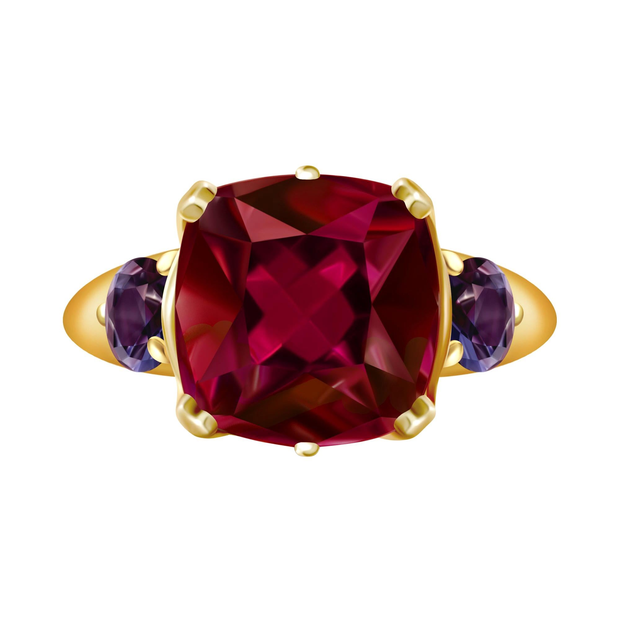 9 Carat Burgundy Red Rhodolite Garnet and Spinel 18 Karat Yellow Gold Ring