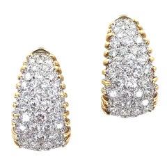 9 Carat Diamond 18 Karat Two-Tone Gold Half Hoop Earrings