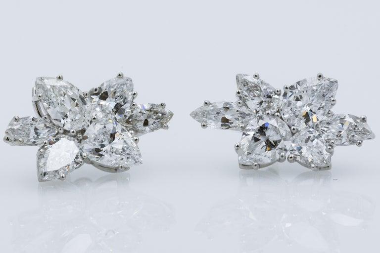 Modern 9 Carat Diamond and Platinum 18 Karat White Gold Earrings For Sale