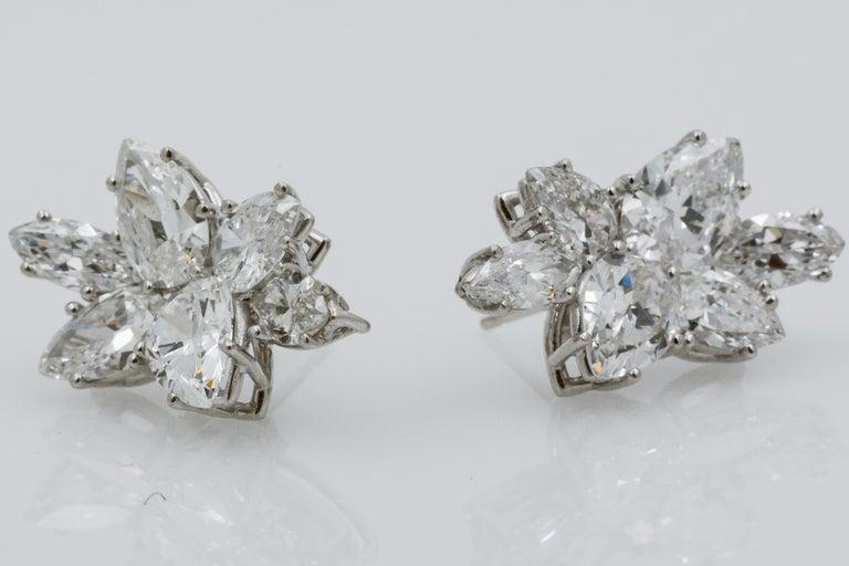 Women's 9 Carat Diamond and Platinum 18 Karat White Gold Earrings For Sale
