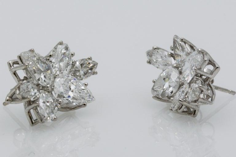9 Carat Diamond and Platinum 18 Karat White Gold Earrings For Sale 1