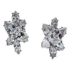 9 Carat Diamond and Platinum 18 Karat White Gold Earrings