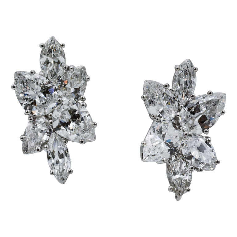 9 Carat Diamond and Platinum 18 Karat White Gold Earrings For Sale