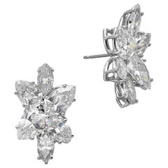 9 Carat Diamond and Platinum 18 Karat White Gold Earrings
