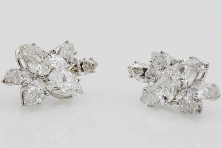 9 Carat Diamond and Platinum 18 Karat White Gold Earrings For Sale 3