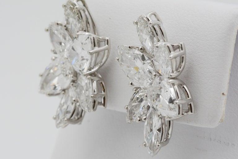 9 Carat Diamond and Platinum 18 Karat White Gold Earrings For Sale 4