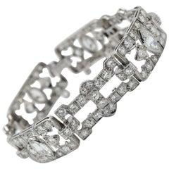 9 Carat Diamond Art Deco Bracelet in Platinum with Marquise & Round Cuts