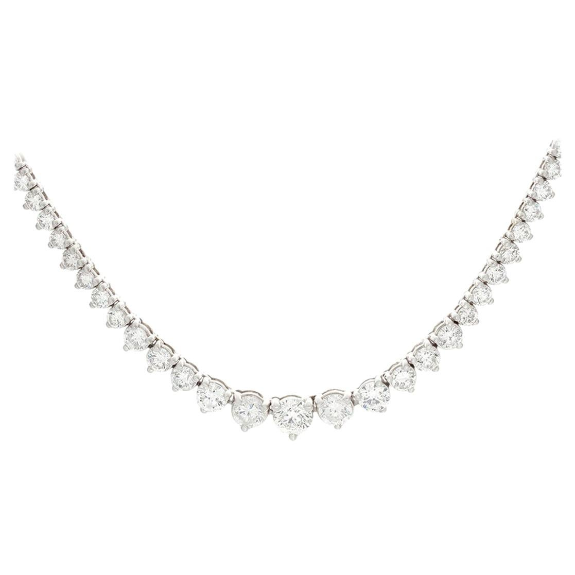 9 Carat Diamond Tennis Riviere Necklace 18 Carat White Gold, Made in Italy