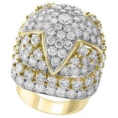 9 Carat Diamonds VS Quality Dome Shape Cocktail Platinum and Gold Ring Estate