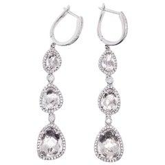 9 Carat Diamonds w White Topaz Dangle Earrings, Drop Earrings in 14 Karat Gold
