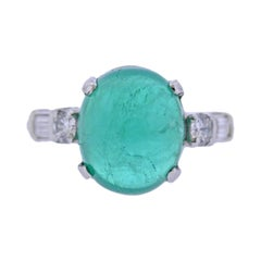 9 Carat Emerald Cabochon Platinum Diamond Ring