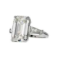 9 Carat Emerald Cut Diamond I-VS2 GIA Engagement Ring