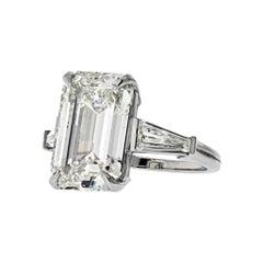 9 Carat Emerald Cut Diamond I-VS2 GIA Engagement Ring