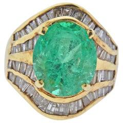 9 Carat Emerald Diamond Gold Cocktail Ring
