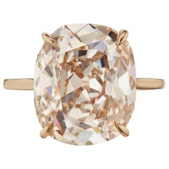 9 Carat Fancy Light Pinkish Orange Antique Cushion Cut Diamond Ring Type IIA