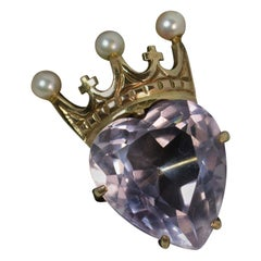 9 Carat Gold Amethyst and Pearl Heart and Crown Brooch